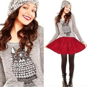 NWOT Bethany Mota Owl Hi-Lo Sweater